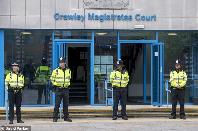 Crawley Magistrates' Court, pictured, heard Mr Hollett has also been charged with another incident of dangerous driving where he was accused of racing a BMW against a Lamborghini at speeds in excess of 150mph