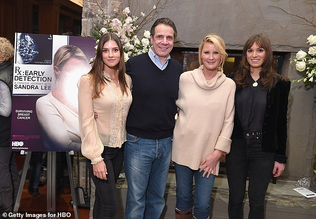 Cuomo has three daughters, Michaela (left), 23, Cara and Mariah (right), both 26, from a previous marriage to Kerry Kennedy, but Lee considers them to be her own