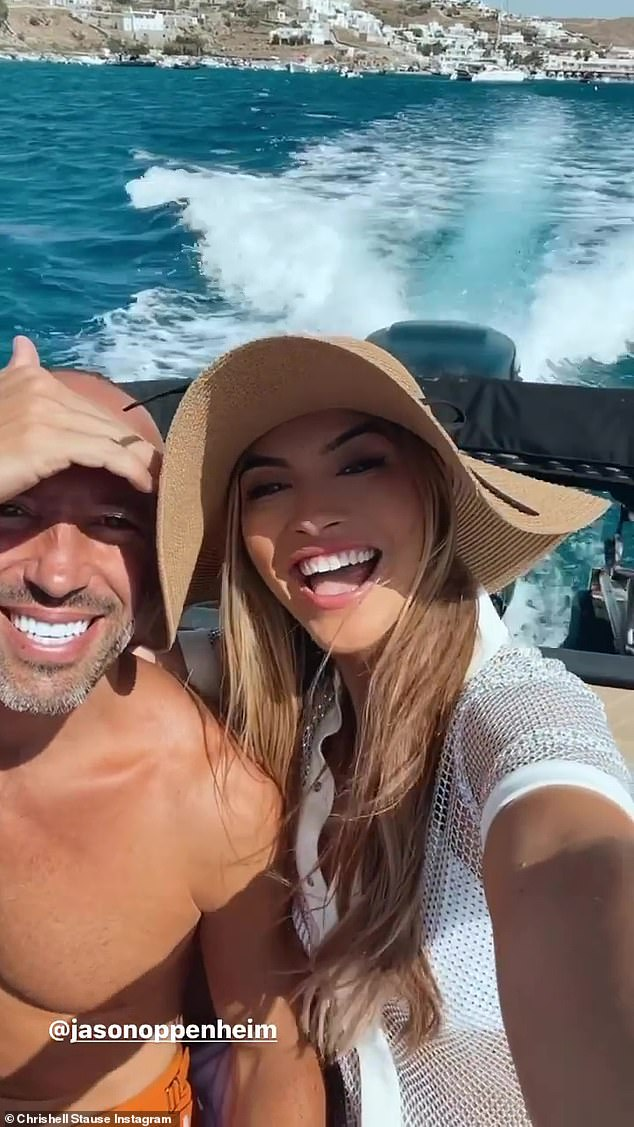 Her new man:The Dancing With The Stars vet was also seen with her arm around her new love, Jason, while on a speedboat last week