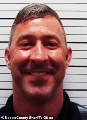 Brain Hayes (pictured), Macon County Coroner, admitted to the KC Star that he was removing COVID-19 from death certificates. The coroner, an elected Republican, was arrested for DWI in 2018. Pictured: Hayes' mugshot from the arrest