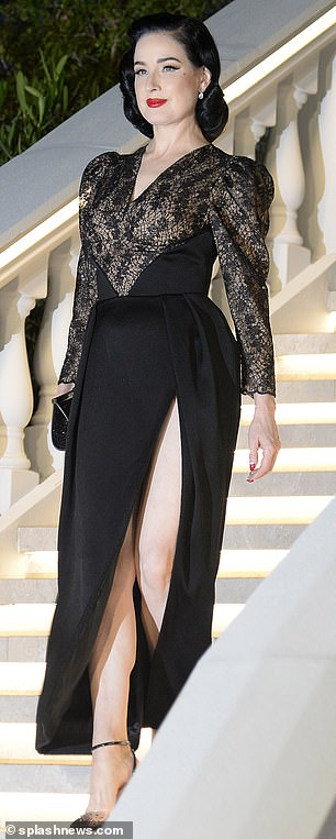Amazing statements: Dita Von Teese and Hayley Hasselhoff were dazzled in jaw-dropping black ensembles as they turned up the glam at Villa Remus party in Mallorca on Wednesday night