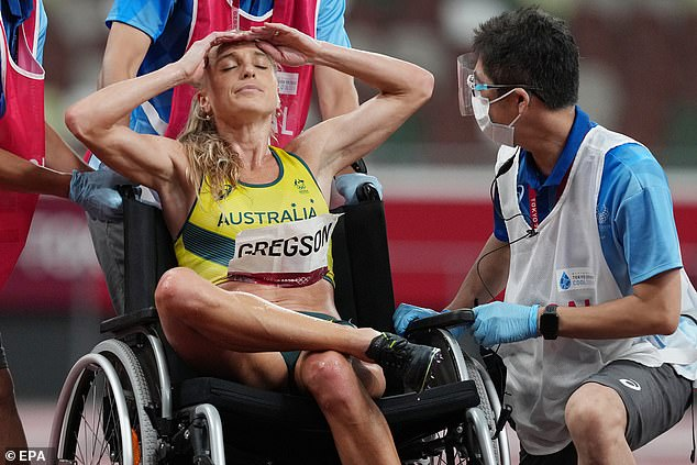Unable to get back on her feet, Genevieve Gregson (pictured)left the track in a wheelchair
