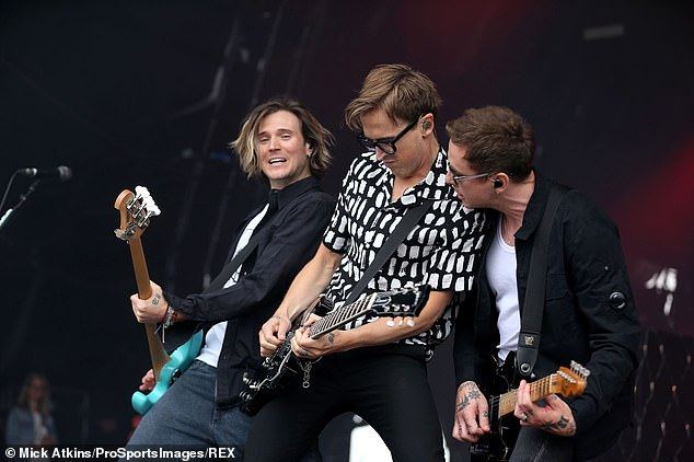 Music and dancing: Tom is on quarter of boy band McFly [pictured last week with Dougie Poynter and Danny Jones]