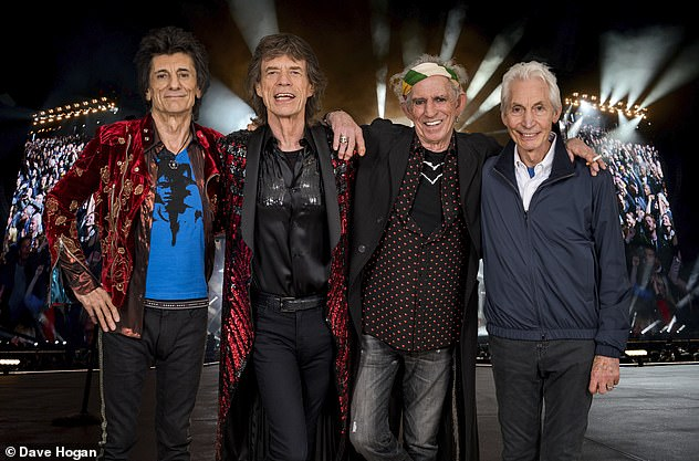 Pushed: The Rolling Stones' had already postponed their tour last year because of the Covid pandemic. Pictured from left: Ronnie Wood, Mick Jagger, Keith Richards and Charlie Watts