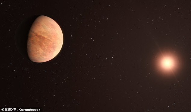This artist's impression shows L 98-59B (left) orbiting its star (right). Astronomers used the Very Large Telescope (VLT) to measure the mass of L 98-59B, finding it to be half that of Venus