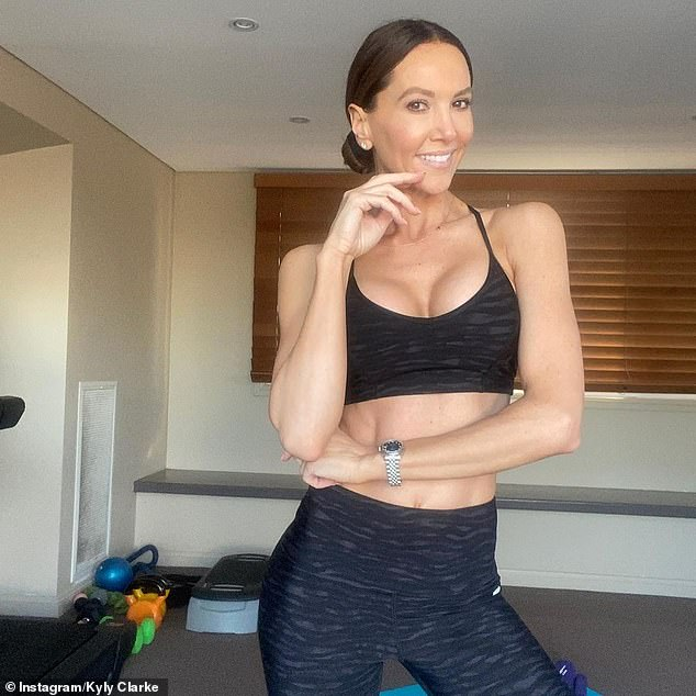 So that's how she does it!  Kyly Clarke showed off her insanely toned figure in a crop top and tights as she shared her workout plan during lockdown on Thursday