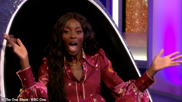 Overjoyed: AJ was the third contestant announced and told how she kept her participation in the series a secret from her mother Florence, who was watching at home