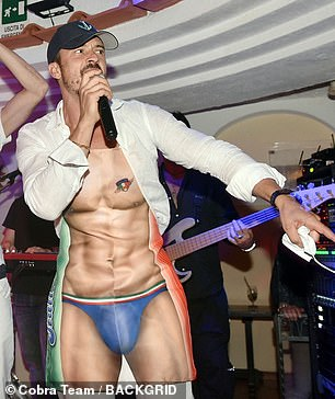 Showman: He stormed the stage during his wild evening