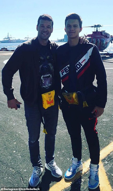 Ballack poses for a photo with son Emilio (right) before going on a helicopter ride