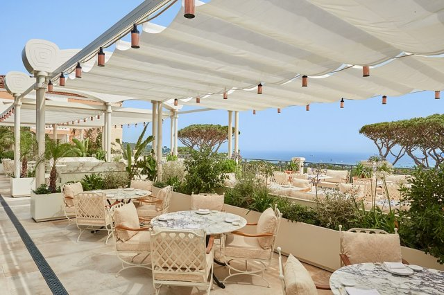 This terrace is used for breakfast andthe hotel's Japanese Matsuhisa Saint-Tropez restaurant, which is running in partnership with world-renowned chef Nobu Matsuhisa