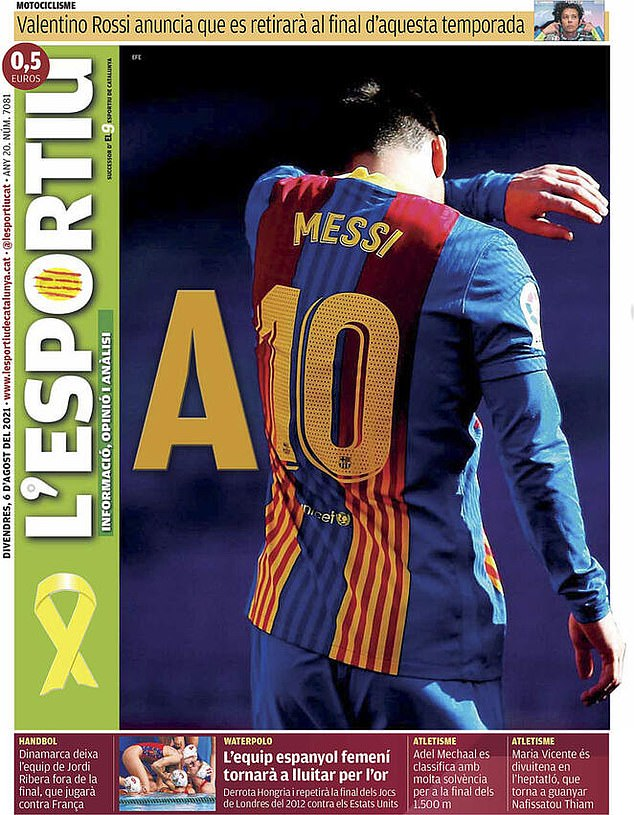 While L'Esportiu opted for a full picture of the 34-year-old with the letter A next to his No. 10