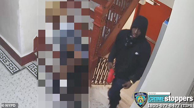 Police say the man was wearing black and red plastic masks (pictured in his right hand) when he raped the elderly woman at gunpoint in the stairwell