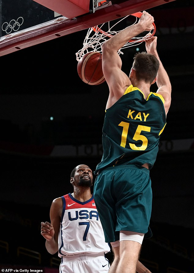 Australia led by 15 with minutes left in the first half but were ahead just three at the main break in their semi final with USA