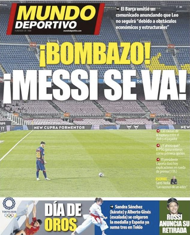 Mundo Deportivo shared their surprise at the news with a headline that read: Messi is gone!
