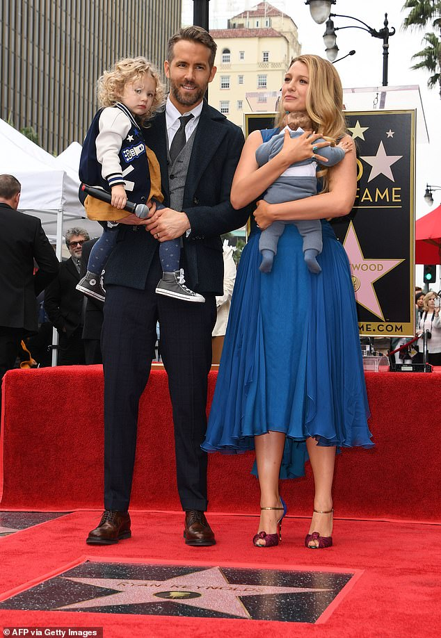 Parenthood:Ryan and Blake, who wed in 2011, share daughters James, six, Inez, four, and one-year-old Betty, whose name serves as the title of Swift's song; Ryan and Blake pictured with James and Inez in 2016