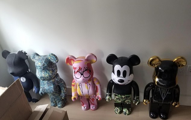 He also reportedly bought 16 collectible dolls by Bearbrick - which can range from hundreds to thousands of dollars per doll