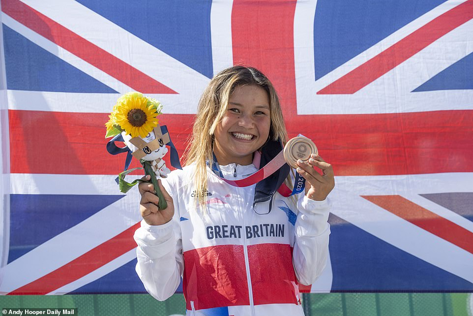 Twelve-year-old Japanese sensation Kokona Hiraki claimed a silver while three children aged 13, including Britain's youngest ever Olympic medal winner Sky Brown (pictured), also enjoyed success in Tokyo