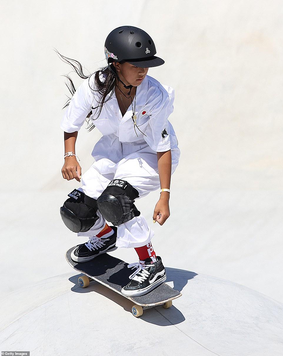 The youngest skateboarding medallist was 12-year-old Japanese sensation Kokona Hiraki (pictured)