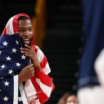 USA beat France 87-82 win basketball gold in Tokyo as Kevin Durant drapes himself Stars and Stripes💥👩💥💥👩💥