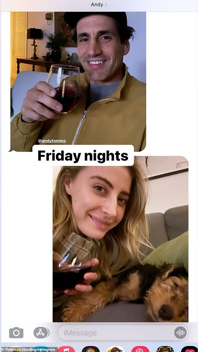 Love: Rebecca Harding (bottom) has revealed how she and boyfriend Andy Lee (top) are keeping the romance alive as the live in different states. In an image shared to Instagram on Saturday, Andy and Rebecca shared two photos holding up wine glasses and smiling
