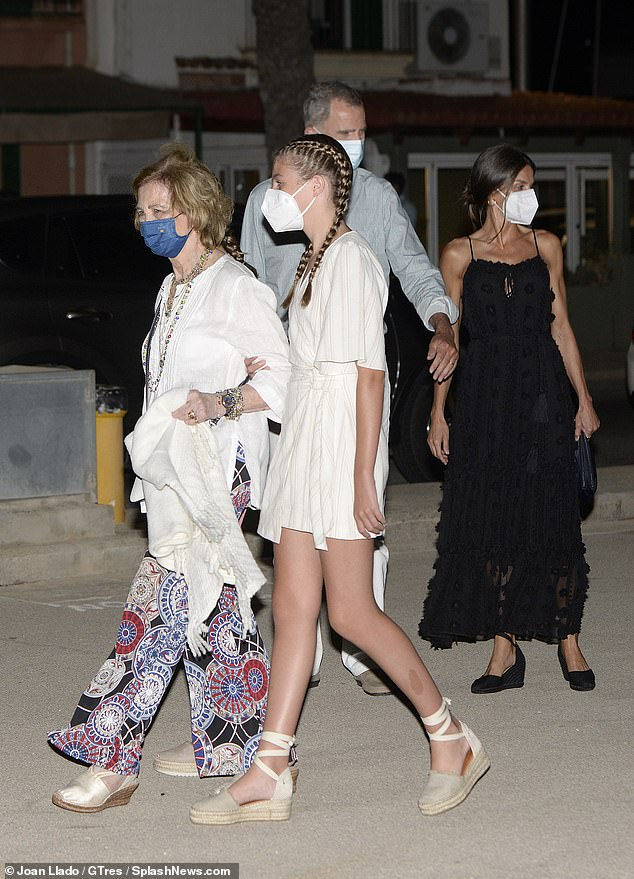 The family appeared in high-spirits as they left the Mediterranean restaurant yesterday evening
