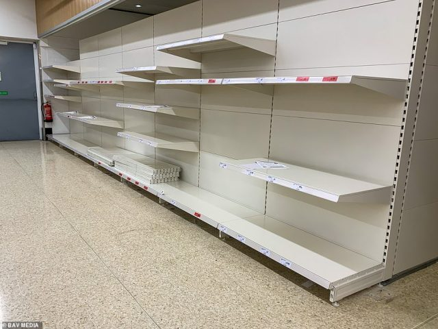 Dairy giant Arla said in June: ¿There is a real crunch this Summer because of Covid causing a backlog of new drivers passing their tests, changes to tax rules, some drivers from EU countries returning home, some others on furlough and other factors.' (Pictured: Empty shelves in Sainsbury's in Cambridgeshire this week)
