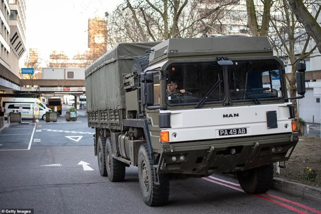 A source said the Government is sending messages out to all Army personnel with HGV qualifications (Pictures: Military truck delivering supplies to a London hospital during the height of the first Covid wave last year)