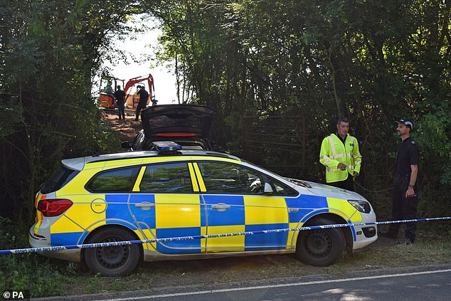 Police officers search an area near Pershore in Worcestershire in 2019 as part of further investigations into Suzy's disappearance