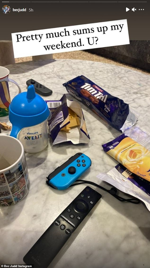 Much-needed snacks:She also revealed that the clan have been consuming a lot of snacks. She shared a picture of half eaten blocks of Caramilk chocolate, which is one of the WAGs favourite snacks