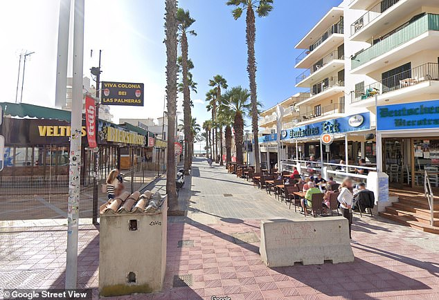 A German man in his 40s has been arrested after a 50-year-old British woman was raped around 3am Sunday while lying unconscious on this street in Playa de Palma, Mallorca