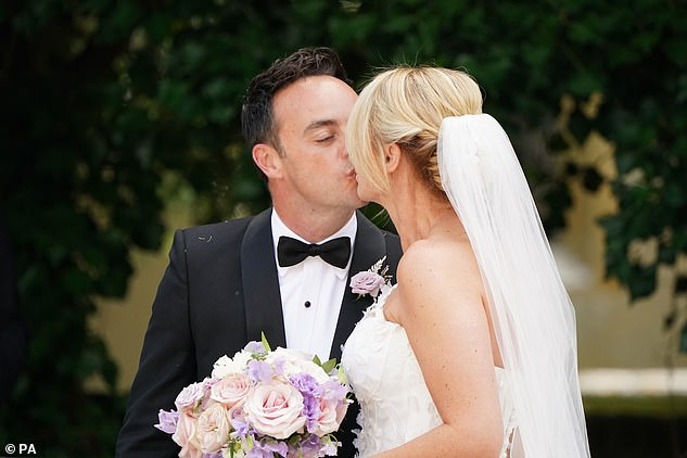 Loved-up:During his speech at their reception Ant said of his new wife Anne-Marie, 'This beautiful woman saved my life'