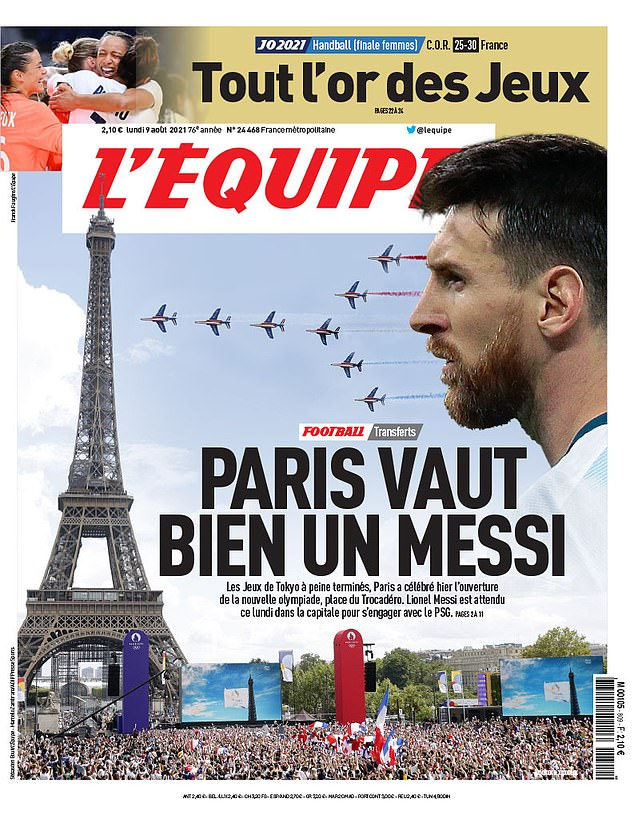 Messi's anticipated switch to Paris adorned the front page of Monday's edition of L'Equipe