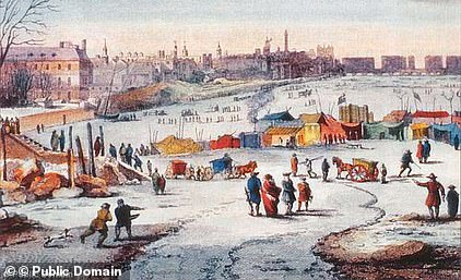 The Little Ice Age, a centuries-long cold period that lasted until about 1850. Temperatures dropped low enough that the River Thames completely froze over. Pictured is Thames Frost Fair, 1683–84, by Thomas Wyke