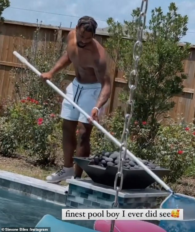 Cheeky: Simone also shared a snap of her NFL star beau Jonathan Owens cleaning out the pool, which she cheekily captioned: 'finest pool boy I ever did see'