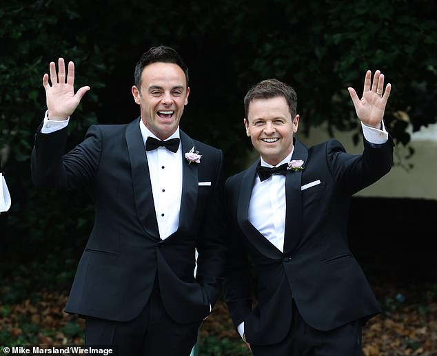 Big day: David's pal Ant had exchanged vows with his wife Anne-Marie Corbett at a Hampshire church on Saturday (Ant and Dec are pictured heading to the service)