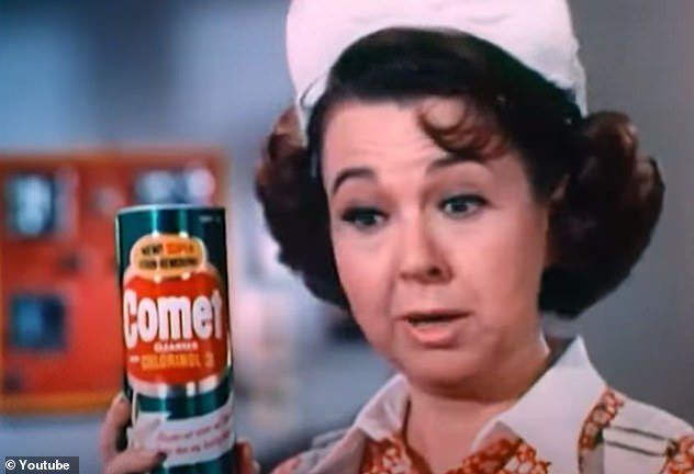Squeaky clean: The avid doll collector experienced another Hollywood comeback when she portrayed Josephine the Plumber in commercials for Comet cleanser between 1963-1974