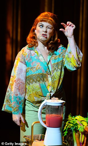 Spitting image: Fergie delivering a monologue on stage