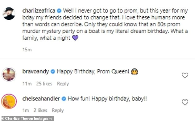 'Happy birthday, Prom Queen!': The post attracted some birthday well-wishes from some of her famous friends, including Andy Cohen and Chelsea Handler