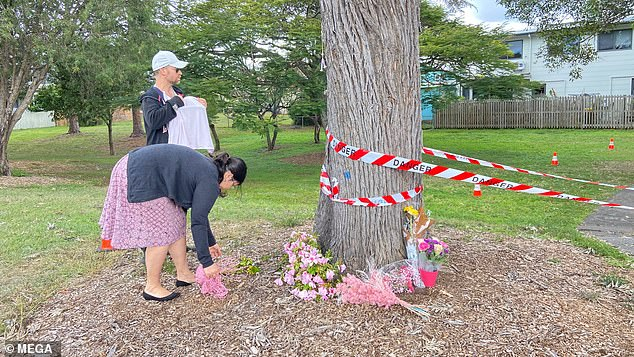 Mia's mother ducked to avoid the magpie in Glindemann Park shortly after midday on Sunday and tripped over with baby Mia in her arms