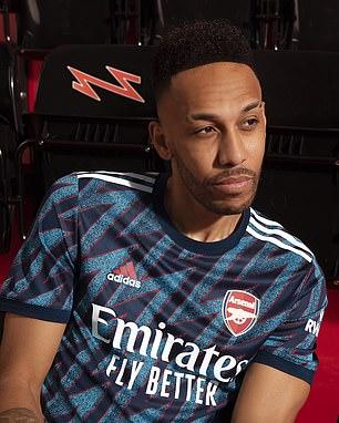 Arsenal club captain Pierre-Emerick Aubameyangmodelled the new jersey