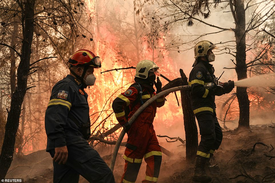 The fire brigade was bracing for a pick up in winds from Tuesday afternoon which could cause more flare ups on Greece's second largest island, amid fears other fronts on the Peloponnese could also be reignited
