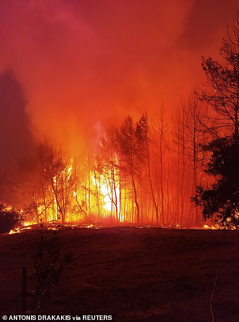 The Evia fireis by far the most widespread and severe in Greece