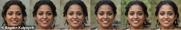 The algorithm also preferred images when Kulynych made people's faces slimmer, their skin lighter and added accessories (shown above from left, least 'salient', to right, most 'salient')