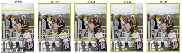 @HALT_AI, chosen in second place, found that the algorithm was biased against someone in a wheelchair. It did not block out the disabled person but @HALT_AI said that in other images this spatial bias towards multiple standing people might disadvantage someone sitting lower in the photo in a wheelchair