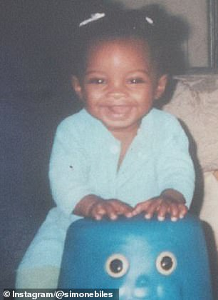 'Tough': Biles, pictured in childhood photos, and her siblings were put into the foster care system after their birth mother, Shanon, battled drug and alcohol addictions