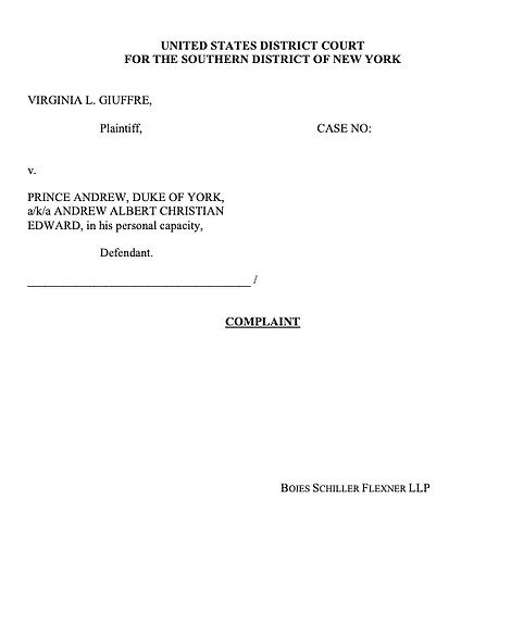 Virginia Giuffre filed the complaint against Prince Andrew at the Southern District Court of New York