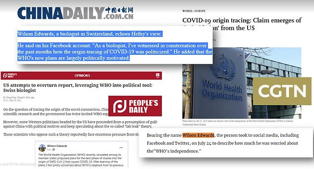 The People's Daily, China Daily, and CGTN television channel all quoted Wilson Edwards but removed the content yesterday