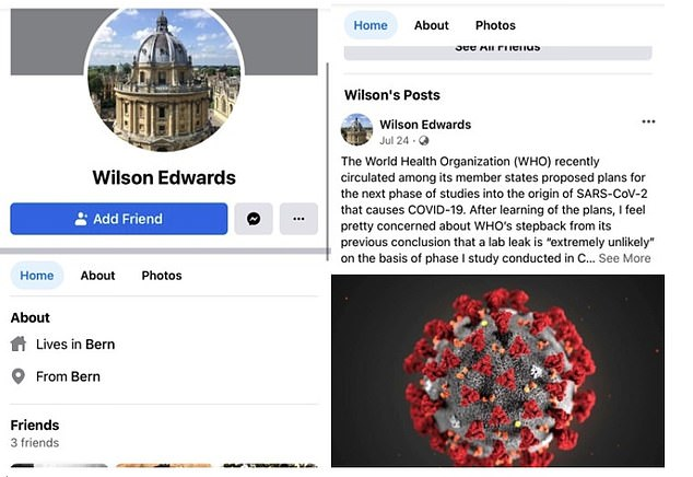 China's state media allegedly invented Swiss biologist Wilson Edwards and quoted him claiming the US had pressured the World Health Organisation into investigation theories Covid-19 was leaked from a lab in Wuhan