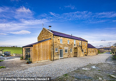 Using money from her inheritance, they decided to buy the barn for £400,000. They restore the barn and rebuild the dilapidated section at one end to create a trendy modern extension (pictured)