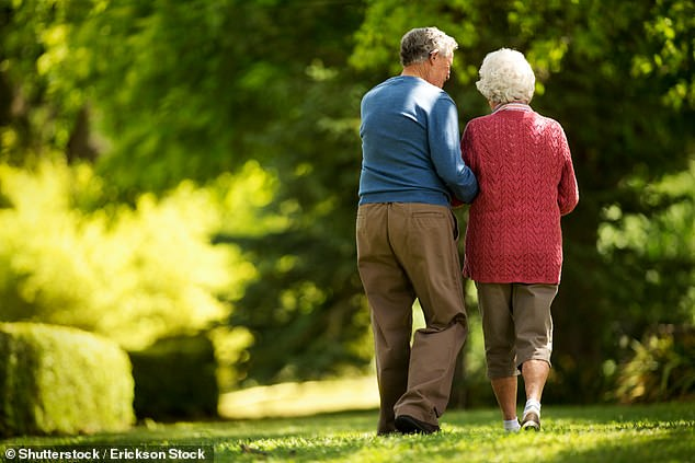 A study has shown stroke survivors who exercise enough have a 54 per cent lower risk of dying. Even those aged 75 and over saw a 32 per cent reduction in their risk of dying (stock photo)